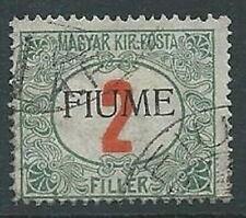 1918-19 USATO FIUME SEGNATASSE 2 F SOPRASTAMPA A MANO V TIPO - F7.6