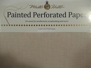 Lot of 11-Mill Hill Painted Perforated Paper 14 count 9x12 sheets, Frost Paint