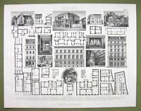 ARCHITECTURE Apartment Buildings Villas Facades Plans - 1870s Engraving Print