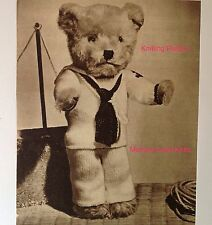 Sailor Suit Knitting PATTERN Vintage for Teddy Bear - Complete Outfit - Sweater