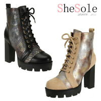 SheSole Women Chunky Platform Sexy High Heel Snakeskin Glitter Ankle Short Boots