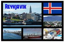 REYKJAVIK, ICELAND - SOUVENIR NOVELTY FRIDGE MAGNET - SIGHTS / TOWNS - GIFT NEW