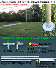Batting Cage Frame Kit 10' x 12' x 60' EZ UP & DOWN Baseball Softball Frame Kit