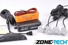 Zone Tech LED Display Car Reverse Backup Radar with 4 Silver Parking Sensors