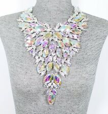 STATEMENT AB CRYSTAL Rhinestone DRAG Bridal BIB NECKLACE Silver Jewelry SET