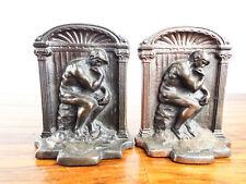 Vintage 1920s Bronze Art Pair Of Bookends The Thinker Rodins Sculpture G D 2