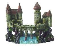 2 Castles & Waterfall Bridge Aquarium Decoration Fish Tank Cave Ornament