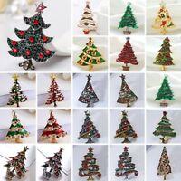 Trendy Christmas Tree Crystal Rhinestone Enamel Brooch Pin Xmas Party Women Gift