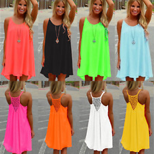 Womens Summer Chiffon Beach Wear Bikini Cover Up Boho Swing Sun Dress Size 8-24