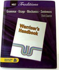 WARRINER'S HANDBOOK Holt Traditions Grammar Sentences 3rd Course 9780030990021