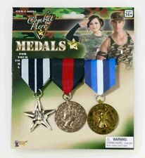 Military Army Pin 3 COMBAT HERO MEDALS Costume Accessory