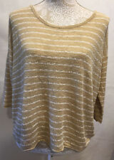 J Jill  Womens 3/4 Sleeve Top Blouse Tan White Career Striped Size M