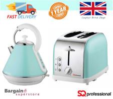 1.8L Cordless Electric Swivel Kettle & 2 Slice Wide Slot Toaster Set Mint Green
