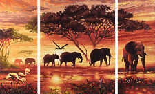 Schipper 609260455 Afrika-Elefanten-Karawane Triptychon Malen nach Zahlen