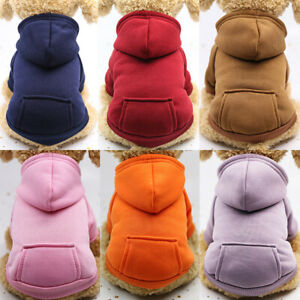 Solid Color Pet Dog Fleece Sweater Warm Dog Clothes Hoodie Soft Puppy CostuS_hw
