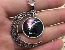 Glass Galaxy Planet Crescent Moon Pendant Necklace A42 UK Seller