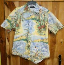TOMMY HILFIGER Blue Camp Shirt Sz L Aloha Hawaiian Tropical Islands Palms Surfer