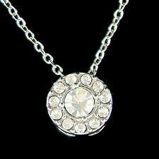 w Swarovski Crystal Chic Circular Simple Everyday Round Circle Pendant Necklace