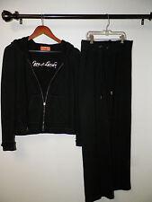 WOMAN'S JUICY COUTURE BLACK COTTON LOVE IS LUXURY TRACK SUIT PANTS & JACKET S/P