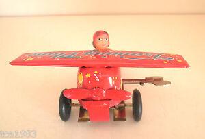 Vintage TRAINING PLANE Wind Up Tin Toy / China, NIB, New/Boxed