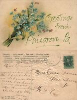 GREETINGS FROM PINEGROVE PA EMBOSSED ANTIQUE POSTCARD