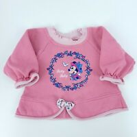 Vtg 80s Disney Babies Baby Girls 12M Pink Embroidered Minnie Mouse Sweatshirt