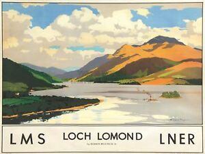 Travel Scotland Loch Lomond Rail Art Canvas Print
