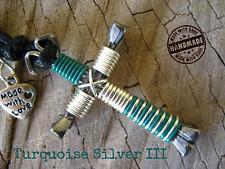 Turquoise Silver III color Pendant Disciples Cross Horseshoe Nails Amulet