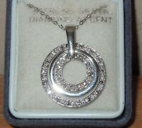 L@@K! NEW DIAMOND ACCENT STERLING SILVER 925 PENDANT NECKLACE INFINITY CIRCLES