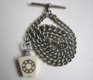 Antique Nickel Silver Graduated Pocket Watch Chain with Masonic Keystone Fob