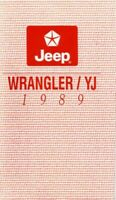 1989 Jeep Wrangler Owners Manual User Guide Reference Operator Book