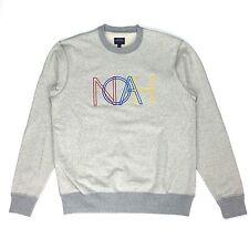 NWT Noah NY Men's Gray Retro Logo Embroidered Terry Sweatshirt M SS17 AUTHENTIC