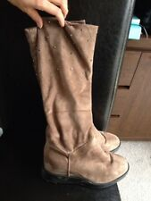 Ladies Soft Suedette Boots Euro Size 40 Wedge Heel Studded <R15101
