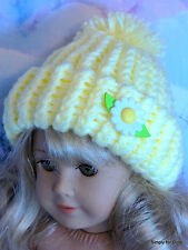 "**SALE** YELLOW w/DAISY Knitted DOLL CAP HAT fits 18"" AMERICAN GIRL Doll Clothes"