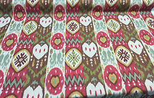 Kachina Tribal Red Green brown IKAT Richloom Printed Linen Blend By The Yard
