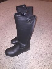 Girls Boots Michael Kors Emma Lily Tall Black Grainy shoe zipper Size 3