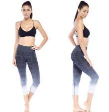 ELECTRIC YOGA Women's Ombre Jacquard Capri size M Charcoal Sport Pants NWT