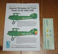 1/72 SCALE DECALS-Potez 25 A2-Ethiopian Air Force 1930-1936 - Cavalier bleu