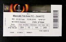 Maccabi Tel-Aviv vs Zenit Petersburg Europa League UEFA Ticket Netanya 15.9.2016