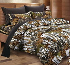 7pc Queen White Camo Comforter & Sheet Set : Bed In A Bag Hunter Tree Woodland
