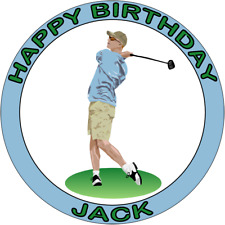 GOLF GOLFING 7.5 PREMIUM Edible ICING Cake Topper CAN PERSONALISED GOLFER D6