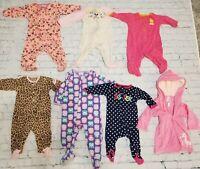 Baby Girl's Lot of 7 sz 6 9 months Robe Footie Pajamas PJ's Sleep Play One Piece