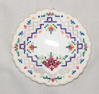 """Vintage Ecru Handwork Brode Main Multicolor Cross-Stitch Round Doily 5 ½"""""""