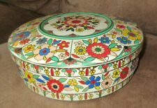Vintage MADE IN HOLLAND FLORAL TIN / CONTAINER - TIERED SIDE