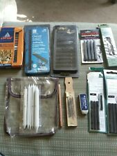 LOT New & Used Drawing Supplies Sketching, Charcoal and white pens, bag