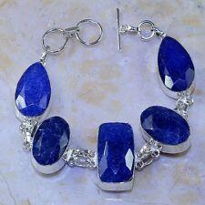 "Handmade Blue Sapphire Gemstone 925 Sterling Silver Bracelet 9"" #M51773"