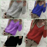 Pullover T-Shirt Womens Casual Loose Tops Jumper Long Sleeve V Neck Solid