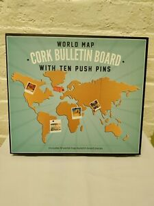 World Map Cork Bulletin Board with 10 Push Pins (19 Pieces)