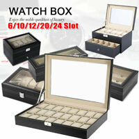 Jewelry Leather Watch Display Storage Boxes Case Tray Collector Holder Organizer
