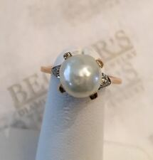 Deco 14k tt Large Baroque Pearl & 2 Old Mine Cut Diamond Milgrain Ring sz 7.25